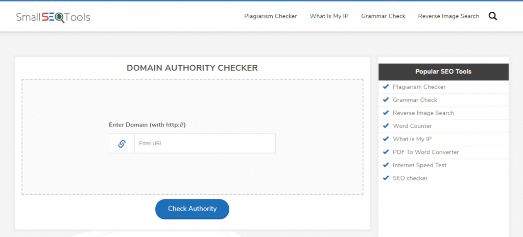 SmallSEOTools - Verificar autoridade de domínio