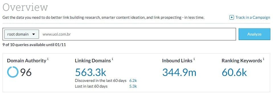 Overview da plataforma da Moz, que mostra indicadores como o Domain Authority