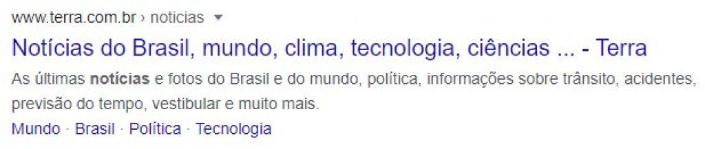 Exemplo de resumo do link na página de resultados do Google, que direciona tráfego orgânico para o seu site