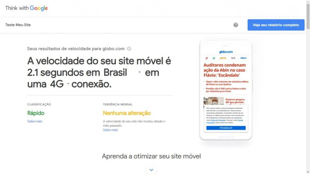 Exemplo de análise do Test My Site do Google