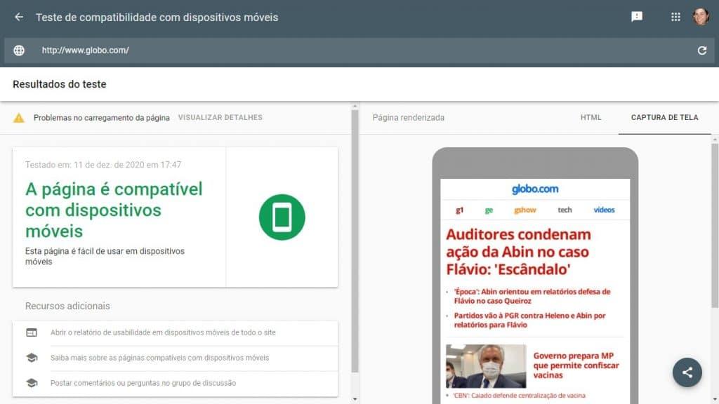 Exemplo de análise do Teste de compatibilidade com dispositivos móveis do Google