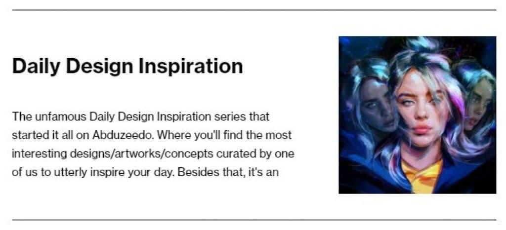Daily Design Inspiration, seção do site Abduzeedo que é um exemplo de Link Roundup