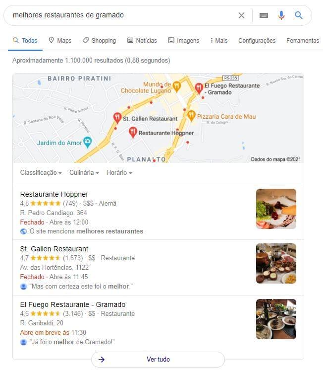 """Exemplo de busca local no Google com a palavra-chave """"melhores restaurantes em gramado"""""""