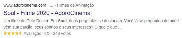 Exemplo de rich snippet em link sobre o filme Soul nos resultados da busca do Google.